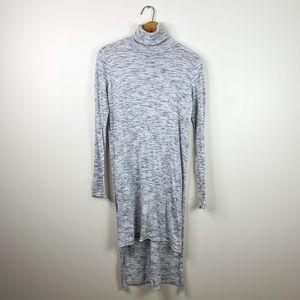 Zara knit small turtleneck gray high low top shirt